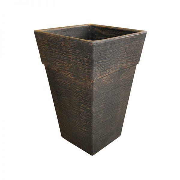 ROTO cvetlično korito Quadro L bakrena imitacija lesa